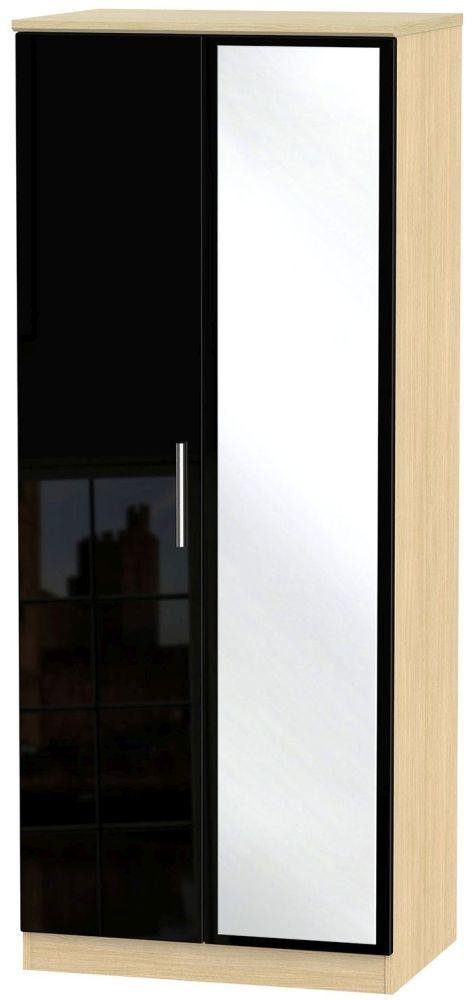 Knightsbridge High Gloss Black and Light Oak Wardrobe - 2ft 6in with Mirror