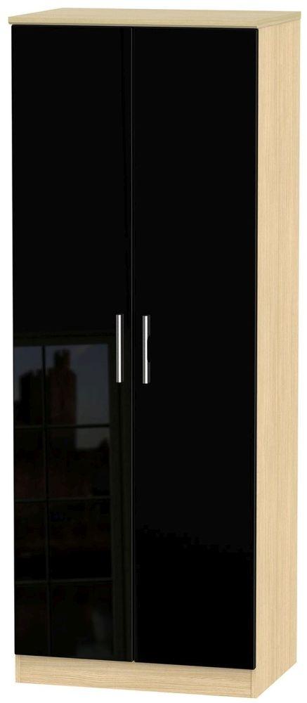 Knightsbridge High Gloss Black and Light Oak Wardrobe - Tall 2ft 6in Plain