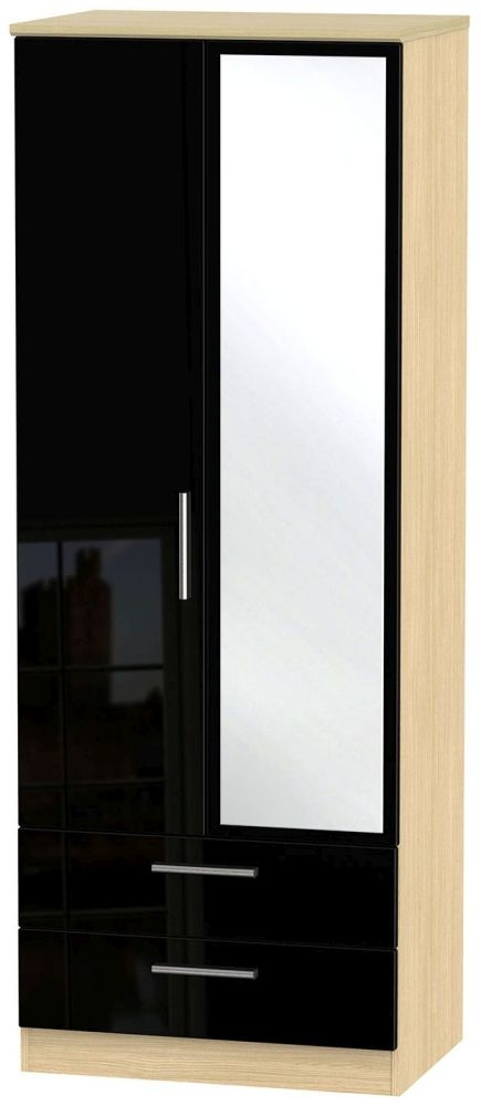 Knightsbridge High Gloss Black and Light Oak Wardrobe - Tall 2ft 6in with 2 Drawer and Mirror