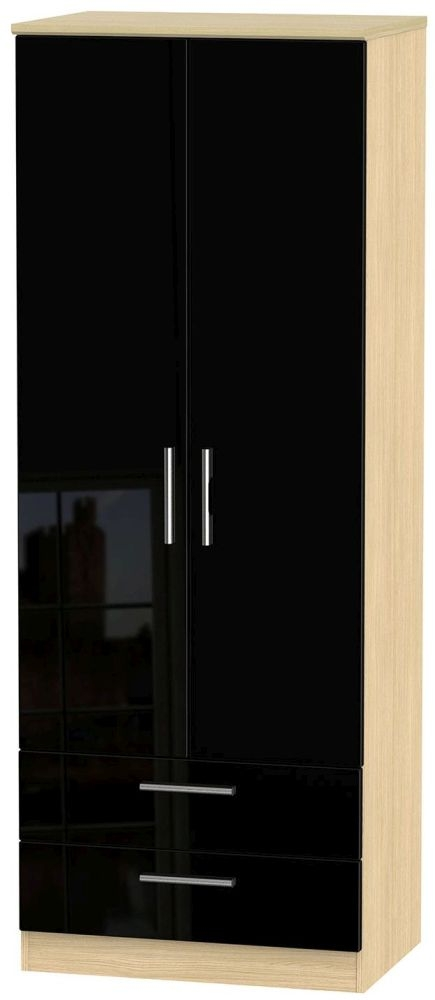 Knightsbridge High Gloss Black and Light Oak Wardrobe - Tall 2ft 6in with 2 Drawer