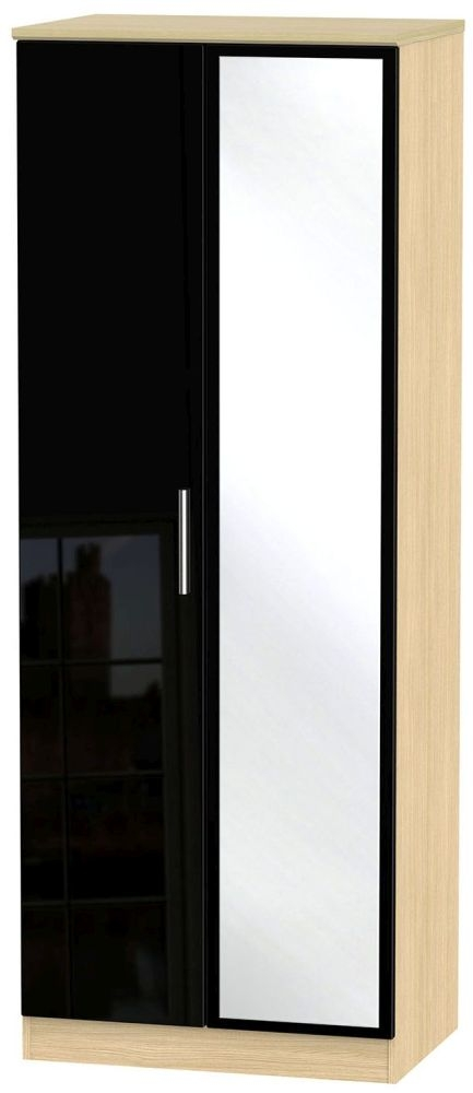 Knightsbridge High Gloss Black and Light Oak Wardrobe - Tall 2ft 6in with Mirror