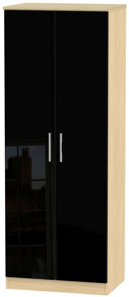Knightsbridge High Gloss Black and Light Oak Wardrobe - Tall 2ft 6in with Double Hanging