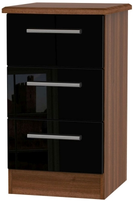 Knightsbridge 3 Drawer Bedside Cabinet - High Gloss Black and Noche Walnut