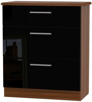 Knightsbridge High Gloss Black and Noche Walnut Chest of Drawer - 3 Drawer Deep