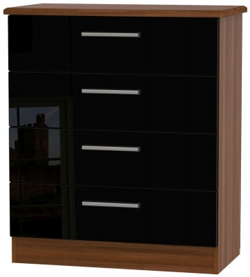 Knightsbridge 4 Drawer Chest - High Gloss Black and Noche Walnut
