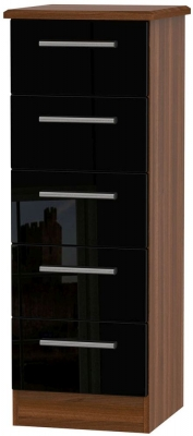 Knightsbridge 5 Drawer Tall Chest - High Gloss Black and Noche Walnut