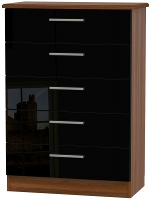 Knightsbridge High Gloss Black and Noche Walnut Chest of Drawer - 5 Drawer