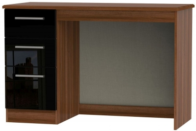 Knightsbridge High Gloss Black and Noche Walnut Desk - 3 Drawer