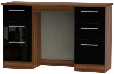 Knightsbridge High Gloss Black and Noche Walnut Dressing Table - Knee Hole Double Pedestal