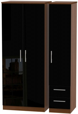 Knightsbridge 3 Door 2 Right Drawer Wardrobe - High Gloss Black and Noche Walnut