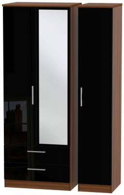 Knightsbridge 3 Door 2 Left Drawer Tall Combi Wardrobe - High Gloss Black and Noche Walnut