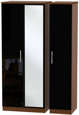 Knightsbridge 3 Door Mirror Wardrobe - High Gloss Black and Noche Walnut
