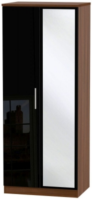 Knightsbridge 2 Door Mirror Wardrobe - High Gloss Black and Noche Walnut