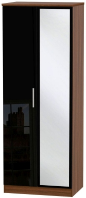 Knightsbridge 2 Door Tall Mirror Wardrobe - High Gloss Black and Noche Walnut