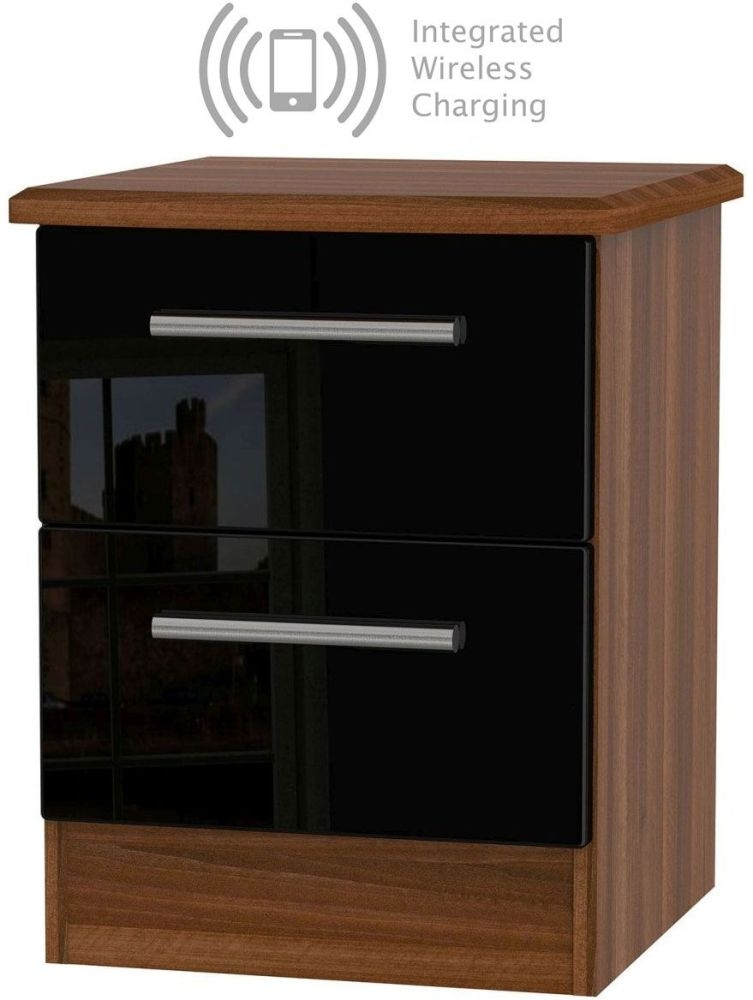 Knightsbridge 2 Drawer Bedside Cabinet with Integrated Wireless Charging - High Gloss Black and Noche Walnut