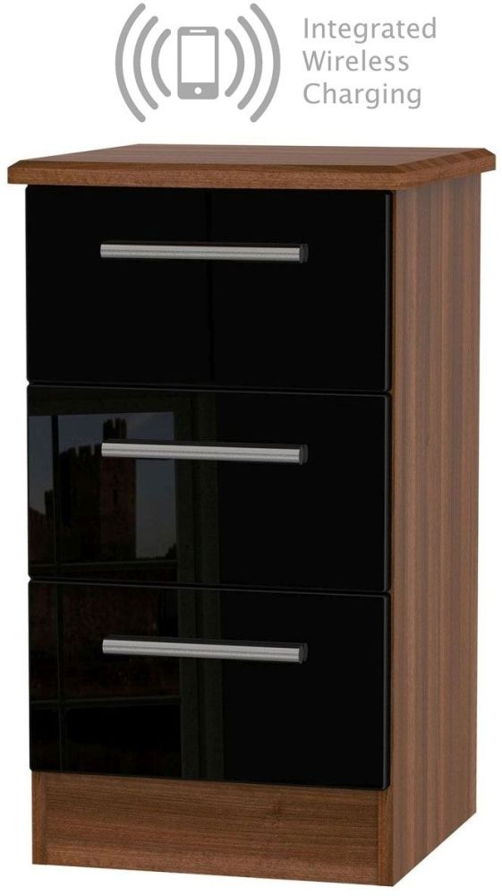 Knightsbridge 3 Drawer Bedside Cabinet with Integrated Wireless Charging - High Gloss Black and Noche Walnut