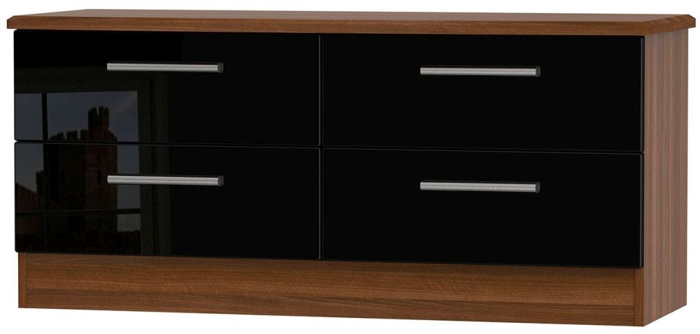 Knightsbridge High Gloss Black and Noche Walnut Bed Box - 4 Drawer