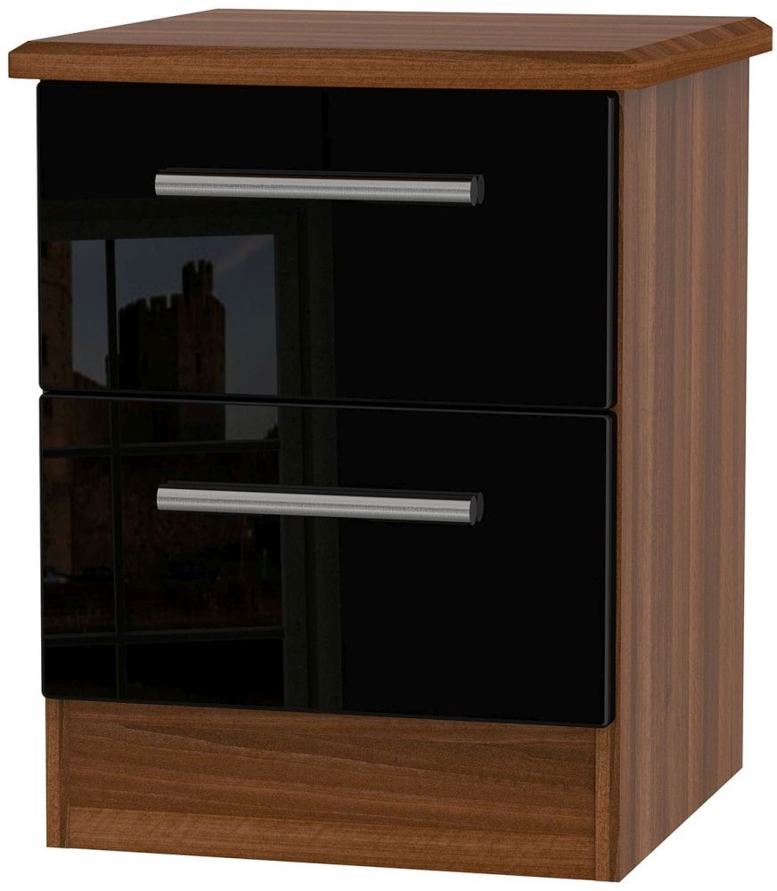 Knightsbridge High Gloss Black and Noche Walnut Bedside Cabinet - 2 Drawer Locker