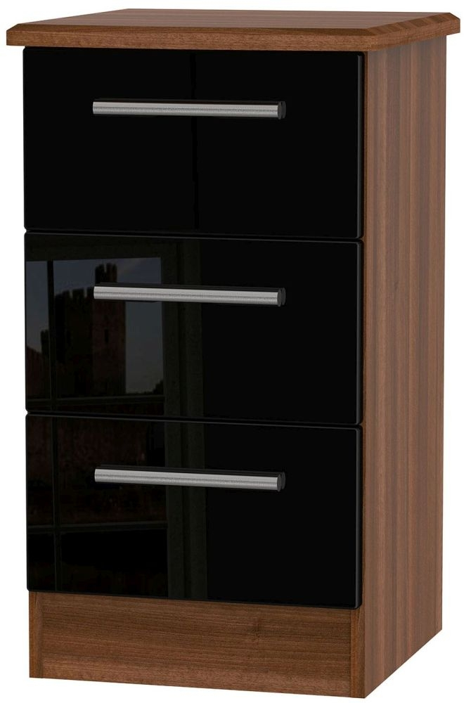 Knightsbridge High Gloss Black and Noche Walnut Bedside Cabinet - 3 Drawer Locker
