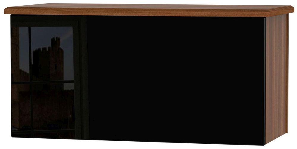 Knightsbridge High Gloss Black and Noche Walnut Blanket Box