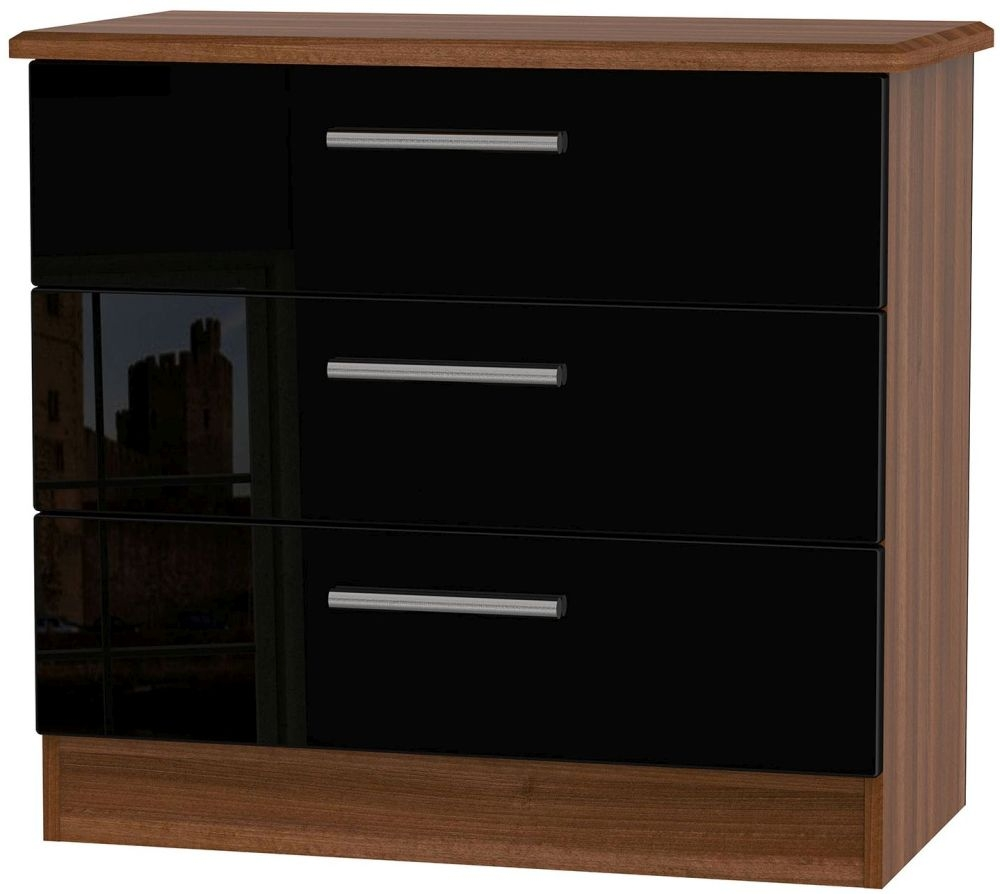 Knightsbridge High Gloss Black and Noche Walnut Chest of Drawer - 3 Drawer