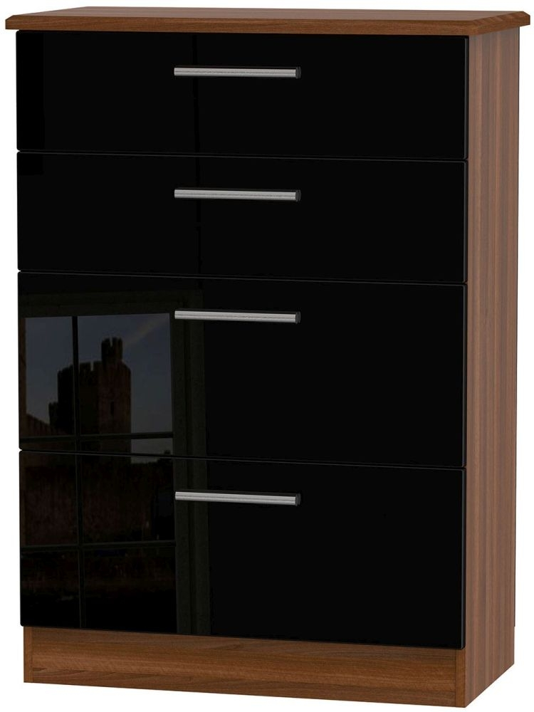 Knightsbridge High Gloss Black and Noche Walnut Chest of Drawer - 4 Drawer Deep