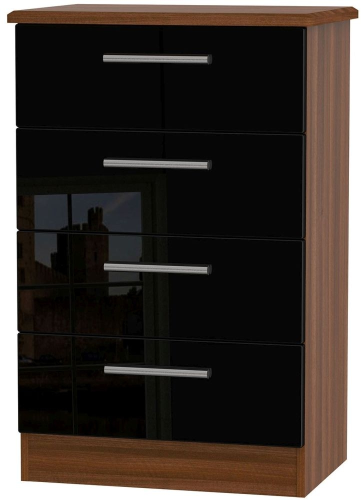 Knightsbridge High Gloss Black and Noche Walnut Chest of Drawer - 4 Drawer Midi
