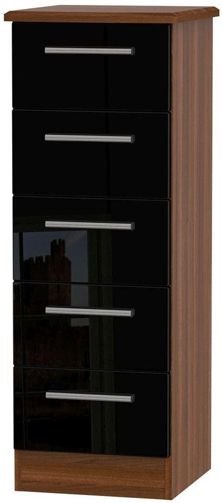 Knightsbridge High Gloss Black and Noche Walnut Chest of Drawer - 5 Drawer Locker