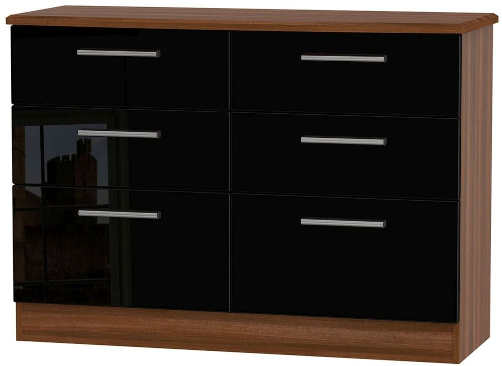 Knightsbridge 6 Drawer Midi Chest - High Gloss Black and Noche Walnut