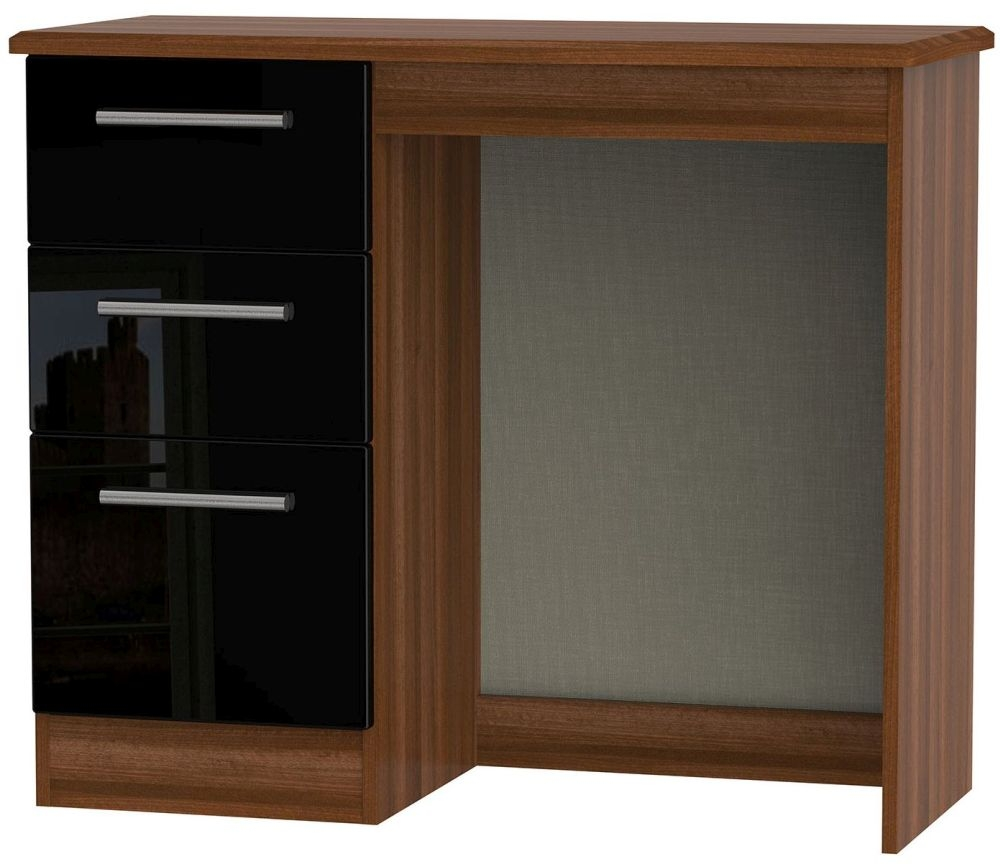 Knightsbridge High Gloss Black and Noche Walnut Dressing Table - Vanity Knee Hole