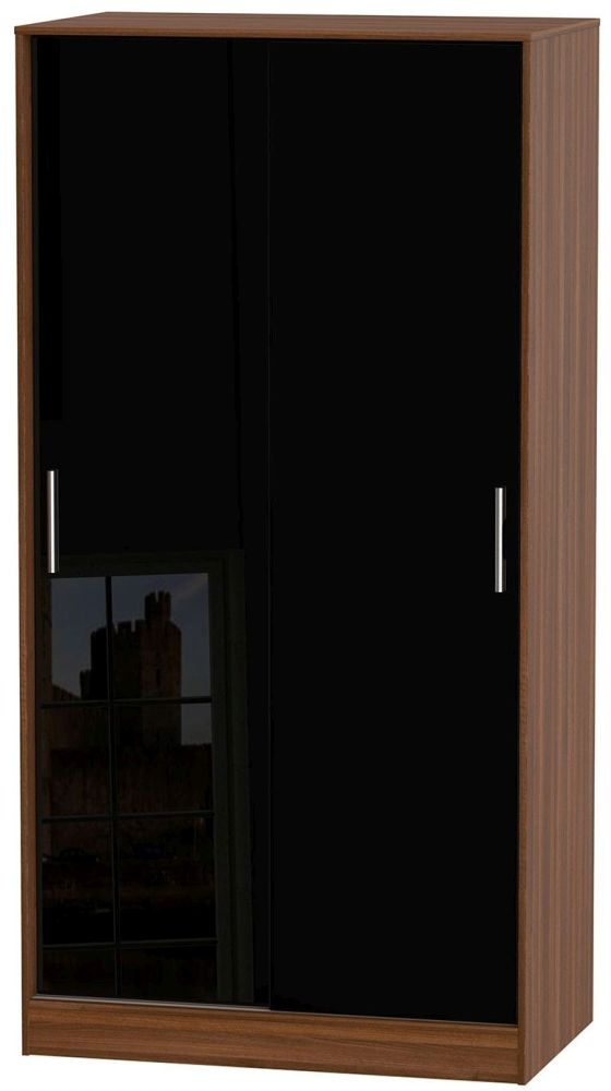 Knightsbridge High Gloss Black and Noche Walnut Sliding Wardrobe - Wide