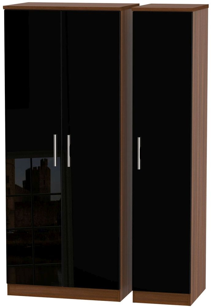 Knightsbridge High Gloss Black and Noche Walnut Triple Plain Wardrobe