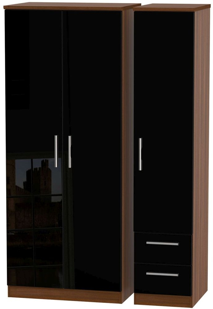 Knightsbridge High Gloss Black and Noche Walnut Triple Wardrobe - Plain with 2 Drawer