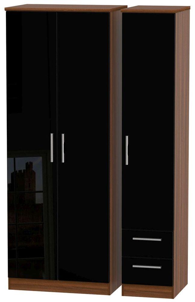 Knightsbridge High Gloss Black and Noche Walnut Triple Wardrobe - Tall Plain with 2 Drawer