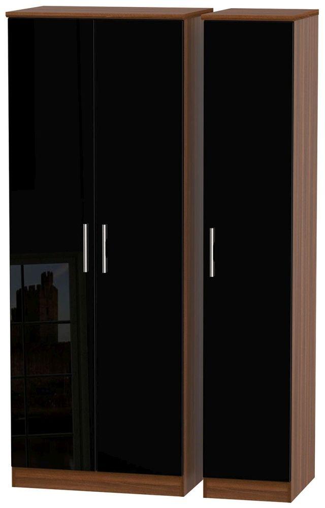 Knightsbridge High Gloss Black and Noche Walnut Triple Wardrobe - Tall Plain