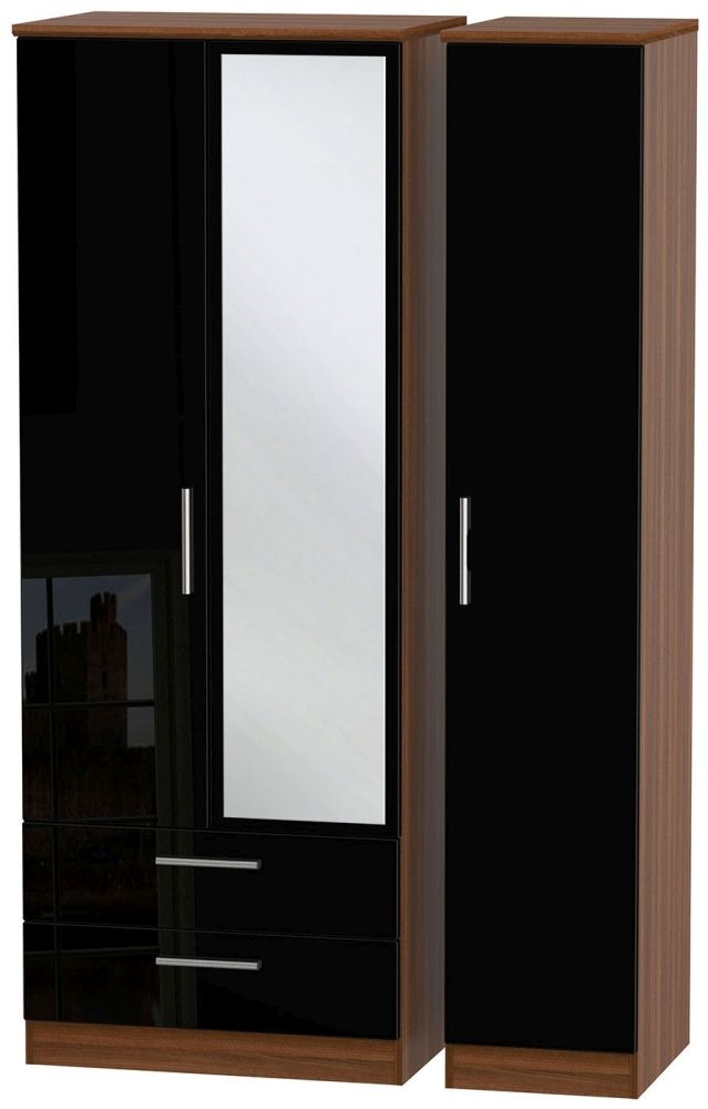 Knightsbridge High Gloss Black and Noche Walnut Triple Wardrobe - Tall with 2 Drawer and Mirror