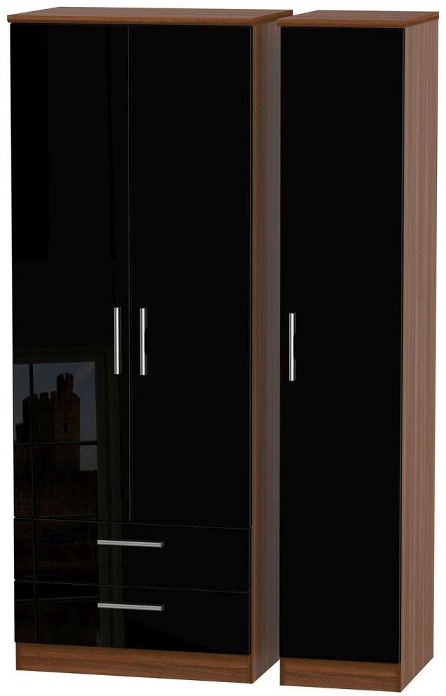 Knightsbridge 3 Door 2 Left Drawer Tall Wardrobe - High Gloss Black and Noche Walnut