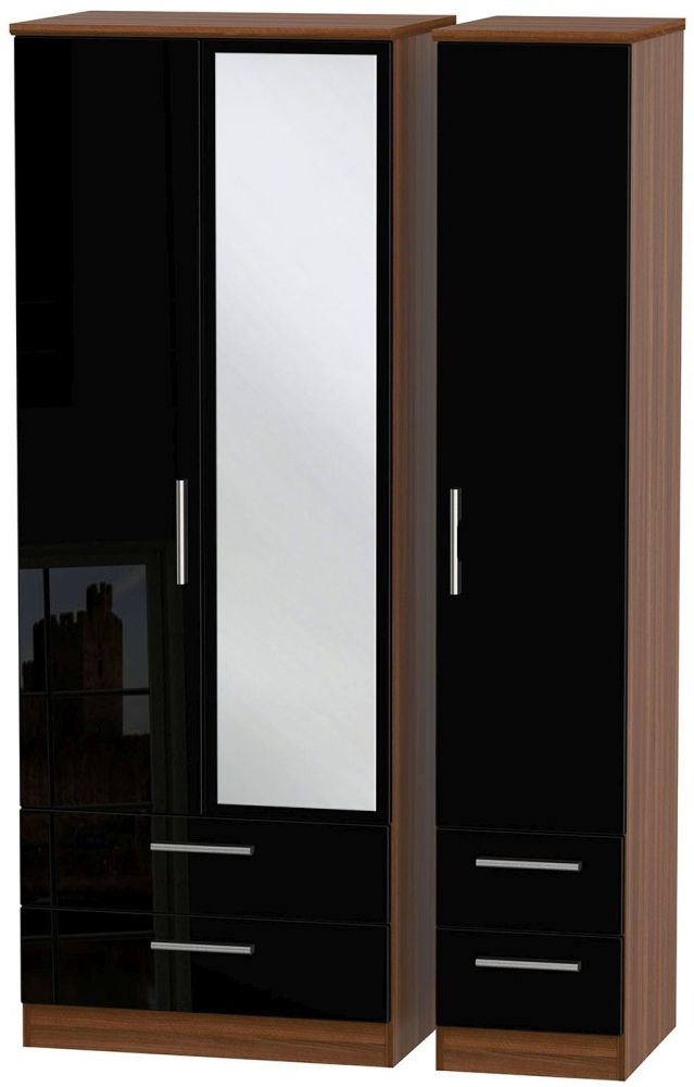 Knightsbridge High Gloss Black and Noche Walnut Triple Wardrobe - Tall with Drawer and Mirror