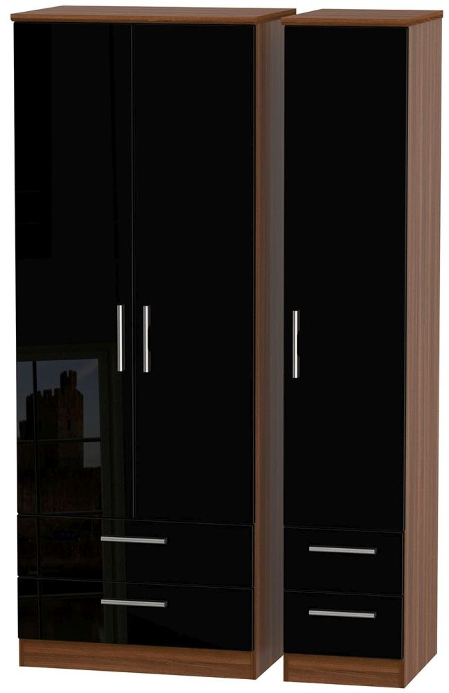 Knightsbridge High Gloss Black and Noche Walnut Triple Wardrobe - Tall with Drawer