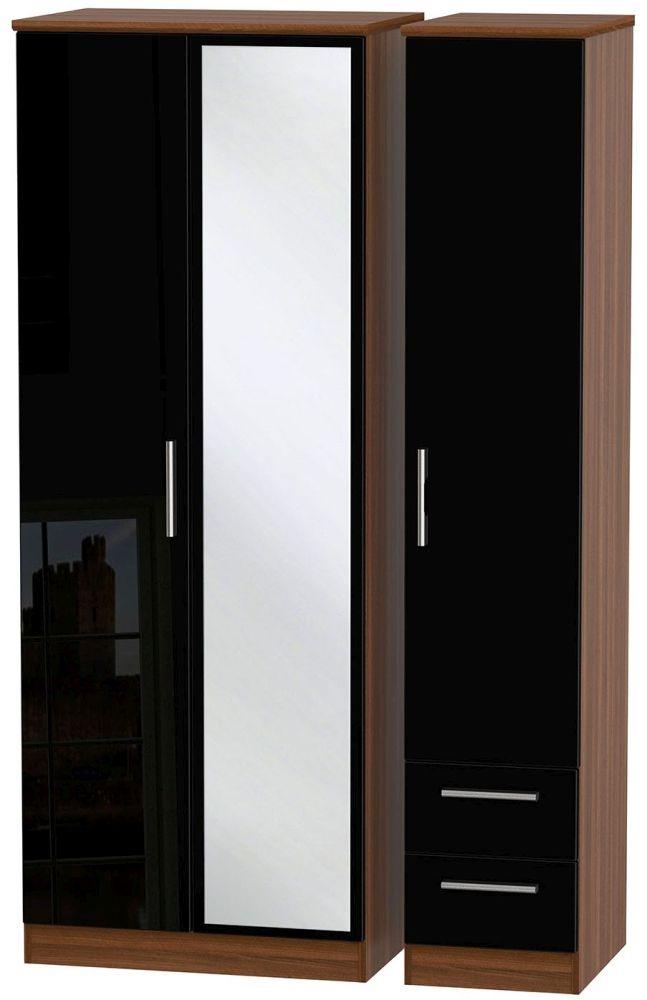 Knightsbridge High Gloss Black and Noche Walnut Triple Wardrobe - Tall with Mirror and 2 Drawer