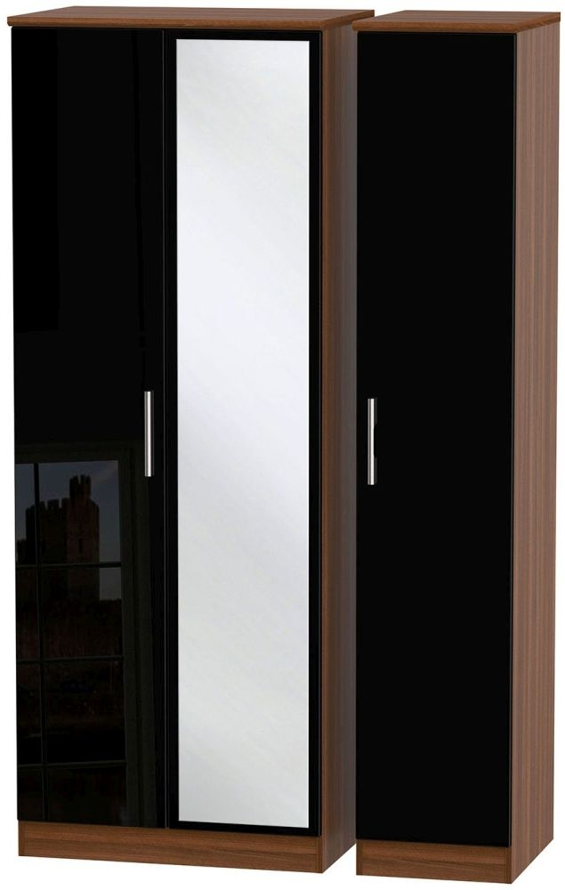 Knightsbridge 3 Door Tall Mirror Wardrobe - High Gloss Black and Noche Walnut