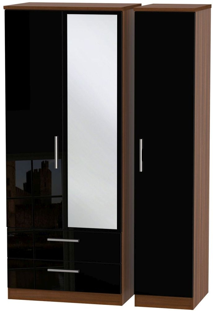 Knightsbridge High Gloss Black and Noche Walnut Triple Wardrobe with 2 Drawer and Mirror