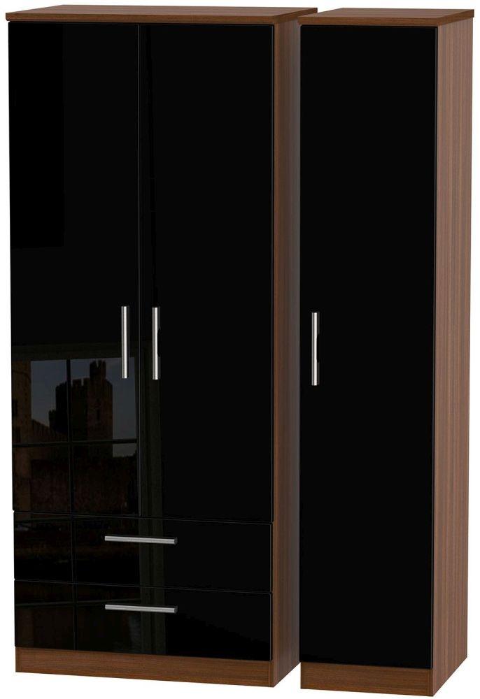 Knightsbridge High Gloss Black and Noche Walnut Triple Wardrobe with 2 Drawer