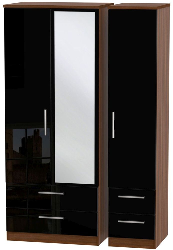 Knightsbridge High Gloss Black and Noche Walnut Triple Wardrobe with Drawer and Mirror