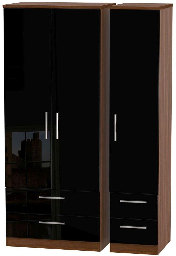 Knightsbridge High Gloss Black and Noche Walnut Triple Wardrobe with Drawer