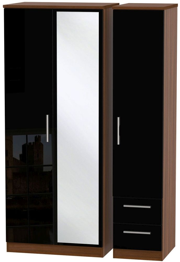 Knightsbridge High Gloss Black and Noche Walnut Triple Wardrobe with Mirror and 2 Drawer