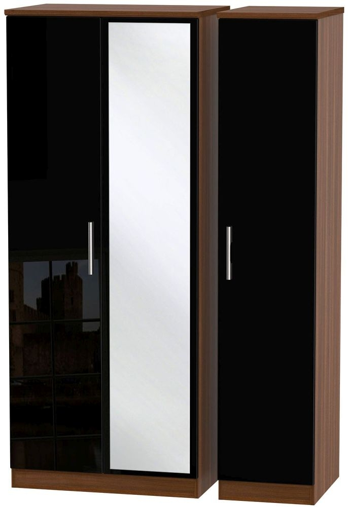 Knightsbridge High Gloss Black and Noche Walnut Triple Wardrobe with Mirror