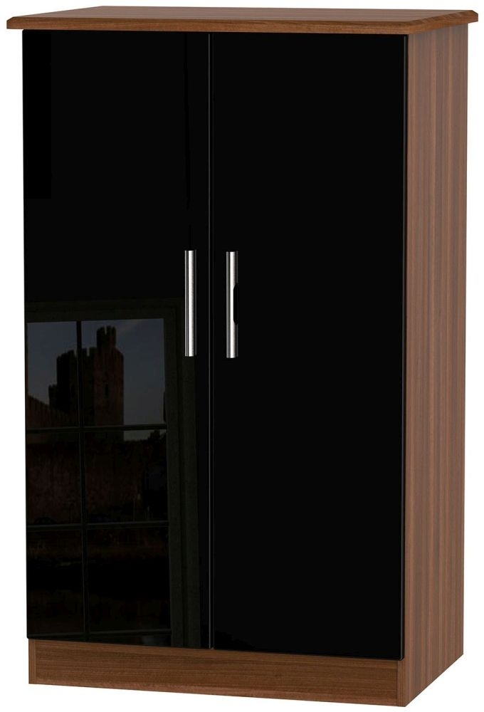 Knightsbridge High Gloss Black and Noche Walnut Wardrobe - 2ft 6in Plain Midi