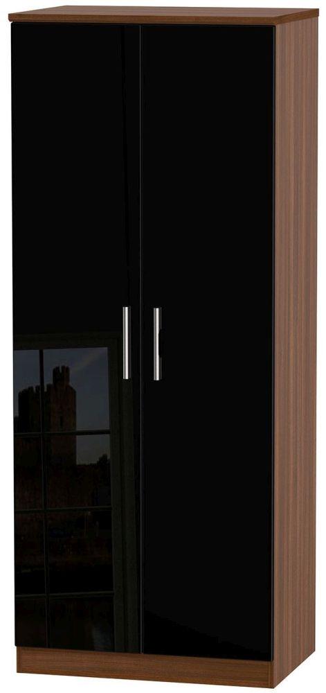 Knightsbridge High Gloss Black and Noche Walnut Wardrobe - 2ft 6in Plain