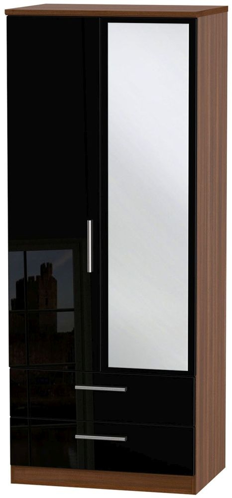 Knightsbridge High Gloss Black and Noche Walnut Wardrobe - 2ft 6in with 2 Drawer and Mirror